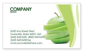 Food & Beverage: Sliced Green Apple Business Card Template #04794
