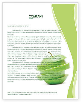 Sliced Green Apple Letterhead Template, 04794, Food & Beverage — PoweredTemplate.com