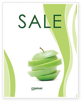 Food & Beverage: Sliced Green Apple Sale Poster Template #04794