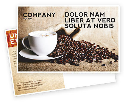 Coffee Break With Cappuccino Postcard Template, 04820, Food & Beverage — PoweredTemplate.com