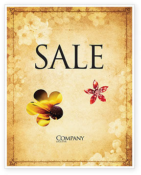 Grunge Flower Texture Sale Poster Template, 04826, Abstract/Textures — PoweredTemplate.com