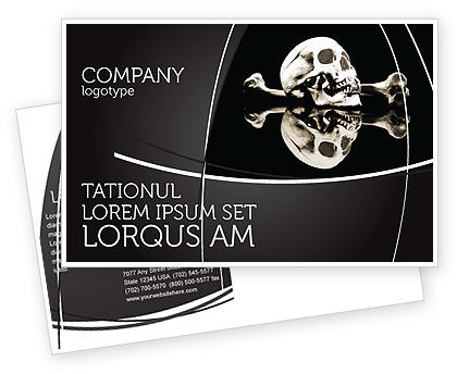 Skull And Bone Postcard Template, 04834, Education & Training — PoweredTemplate.com