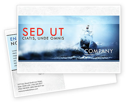 Nature & Environment: Sea Storm Postcard Template #04842