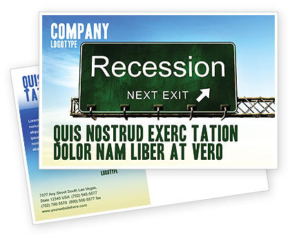 Financial/Accounting: Recession Postcard Template #04847