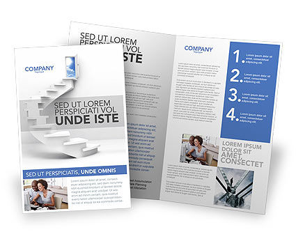 Stairway To Exit Brochure Template, 04849, Careers/Industry — PoweredTemplate.com