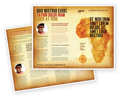 Africa Brochure Template, 04877, Flags/International — PoweredTemplate.com