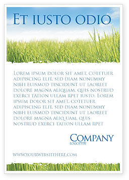 Nature & Environment: Green Grass Under Blue Sky Ad Template #04885
