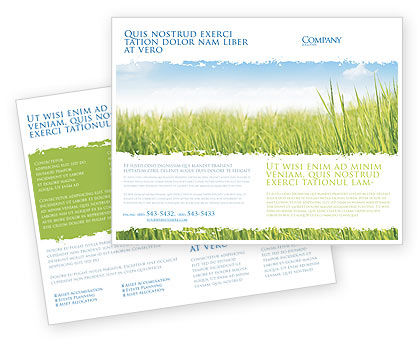 Nature & Environment: Green Grass Under Blue Sky Brochure Template #04885