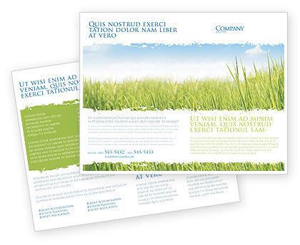Green Grass Under Blue Sky Brochure Template, 04885, Nature & Environment — PoweredTemplate.com