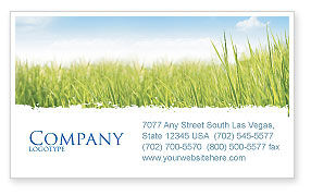 Nature & Environment: Green Grass Under Blue Sky Business Card Template #04885