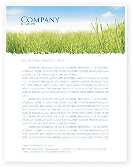 Nature & Environment: Green Grass Under Blue Sky Letterhead Template #04885
