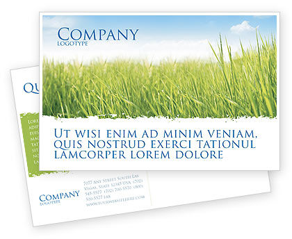 Nature & Environment: Green Grass Under Blue Sky Postcard Template #04885