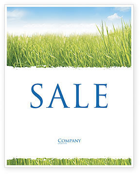 Green Grass Under Blue Sky Sale Poster Template, 04885, Nature & Environment — PoweredTemplate.com