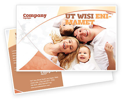 People: Lucky Family Postcard Template #04888