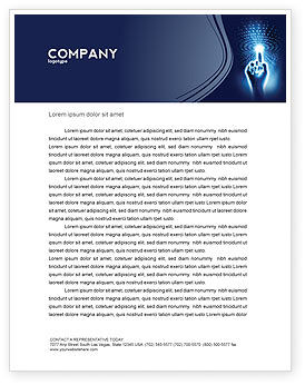 Technology, Science & Computers: Connection With Digital World Letterhead Template #04903