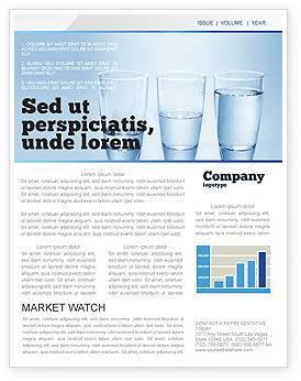 Business Concepts: Glass Half Full Newsletter Template #04919