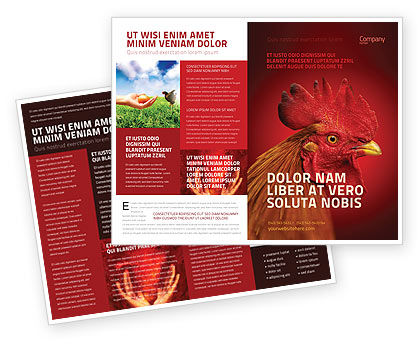 Agriculture and Animals: Rooster Brochure Template #04937