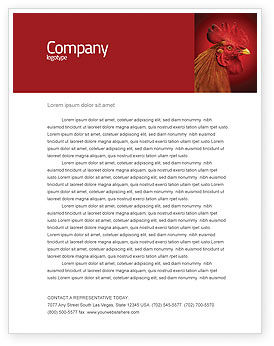 Agriculture and Animals: Rooster Letterhead Template #04937