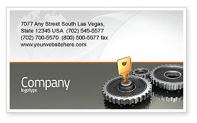 Key To Lock Mechanism Business Card Template, 04966, Business Concepts — PoweredTemplate.com