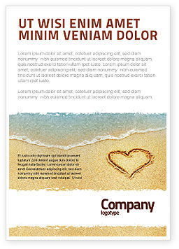 Heart On Sand Ad Template, 04969, Holiday/Special Occasion — PoweredTemplate.com