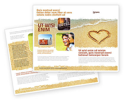 Holiday/Special Occasion: Heart On Sand Brochure Template #04969