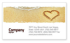 Holiday/Special Occasion: Heart On Sand Business Card Template #04969