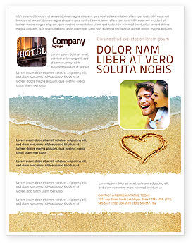 Holiday/Special Occasion: Heart On Sand Flyer Template #04969