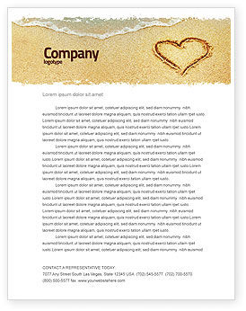 Heart On Sand Letterhead Template
