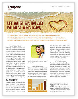 Holiday/Special Occasion: Heart On Sand Newsletter Template #04969