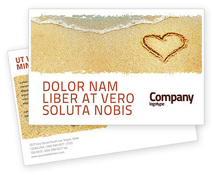 Holiday/Special Occasion: Heart On Sand Postcard Template #04969