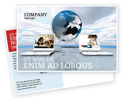 Education & Training: Education and Computer Postcard Template #04976
