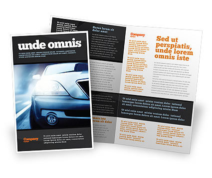 Car On The Road In Twilight Brochure Template Design And Layout
