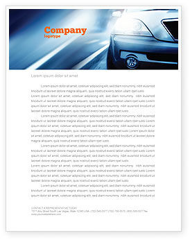 Car On the Road In Twilight Letterhead Template, 04982, Cars/Transportation — PoweredTemplate.com