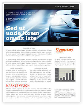 Cars/Transportation: Car On the Road In Twilight Newsletter Template #04982