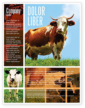 Agriculture and Animals: Cow Flyer Template #04991