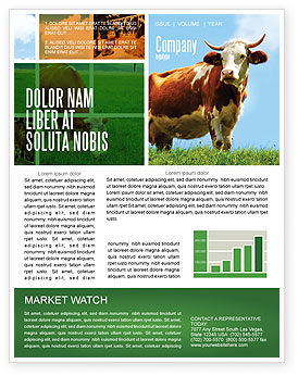 Cow Newsletter Template, 04991, Agriculture and Animals — PoweredTemplate.com