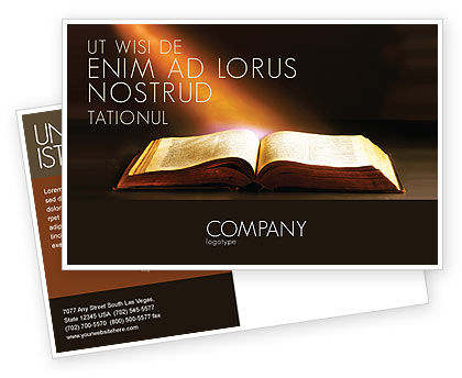 Religious/Spiritual: Holly Book Postcard Template #04995