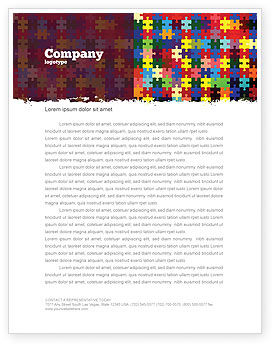 Abstract/Textures: Colorful Puzzle Canvas Letterhead Template #05021