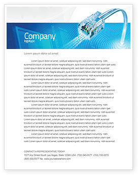 Telecommunication: Patch Cord In Blue Colors Letterhead Template #05058