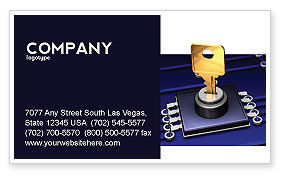 Technology, Science & Computers: Data Protection Key Business Card Template #05074