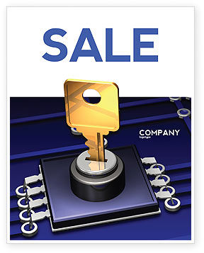 Technology, Science & Computers: Data Protection Key Sale Poster Template #05074