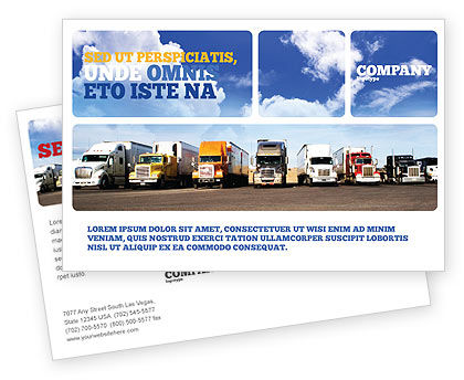Trucks Postcard Template, 05080, Cars/Transportation — PoweredTemplate.com