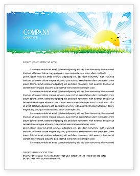 Nature & Environment: Templat Kop Surat Templat Kata Ilustrasi Matahari Terbit #05081