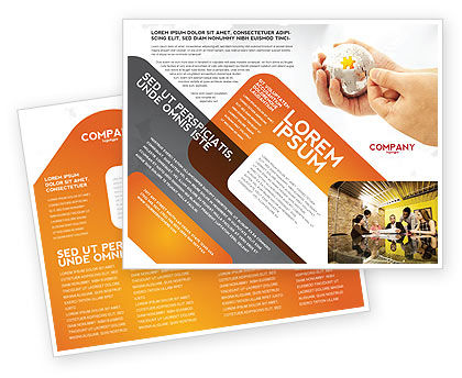 Puzzle Fixing Brochure Template, 05093, Business Concepts — PoweredTemplate.com