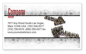 Moving Crowd Business Card Template, 05097, Consulting — PoweredTemplate.com