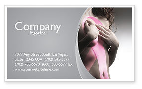 Medical: Breast Cancer Ribbon On The Naked Girl Body Business Card Template #05103
