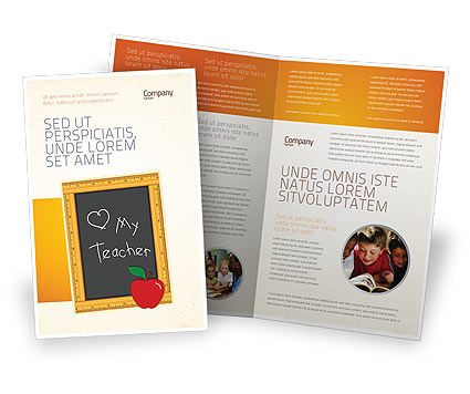 I Love My Teacher Brochure Template, 05109, Education & Training — PoweredTemplate.com
