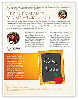 I Love My Teacher Flyer Template, 05109, Education & Training — PoweredTemplate.com