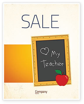 I Love My Teacher Sale Poster Template, 05109, Education & Training — PoweredTemplate.com