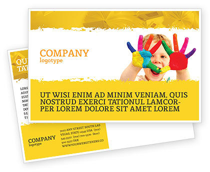 People: Colored Lines Postcard Template #05112